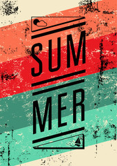 Summer typographic retro grunge poster. Vector illustration.