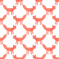 Watercolor seamless pattern with foxes on the white background