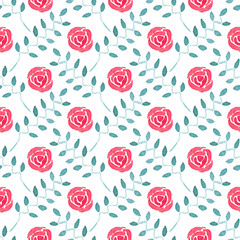 Seamless watercolor pattern with roses on the white background