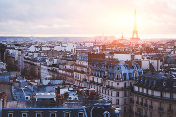 architecture of Paris, France, traditional buildings and streets