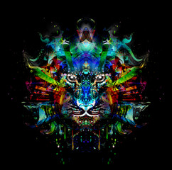 яркий абстрактный фон с тигром