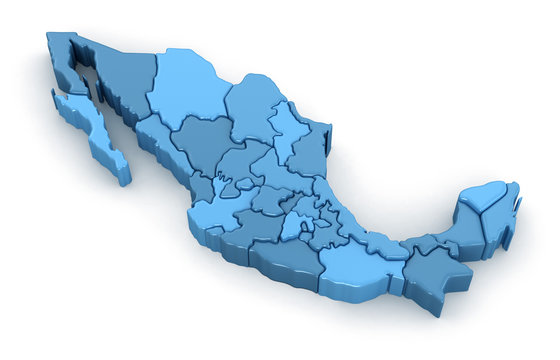 Map of Mexico. Image with clipping path.