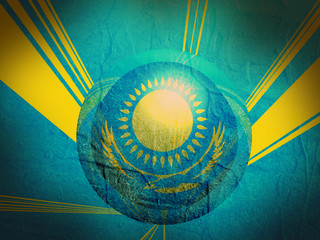 kazakhstan national flag on stucco textured sphere