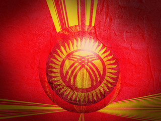 kyrgyzstan national flag on stucco textured sphere