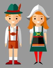Vector illustration of german children, boy, girl, people