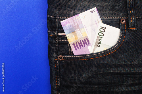 Chf And Euro In Pocket Stock Photo And Royalty Free Images On