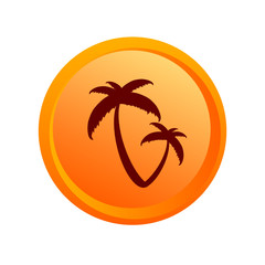 sticker palm orange vector