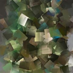 Kubistisches Mosaik in den Farben grün, braun und pastelle