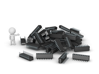 3D Character Showing Pile of Microchips