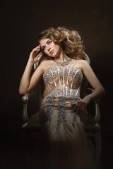Fashion shoot of beautiful woman. Retro style