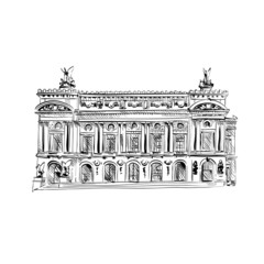 Opera Garnier, Paris, France. Vector illustration