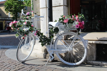 Fotobehang Fiets bicycle with flowers