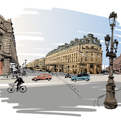 Paris street hand drawn, vector illustration
