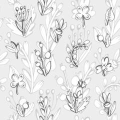 Seamless pattern. Cute leaves in a cartoon style.