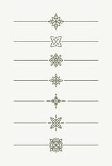 Set of 7 decorative vector mono line style text dividers - decor