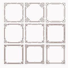 Set of 9 stylish rich decorated square decorative frames in mono