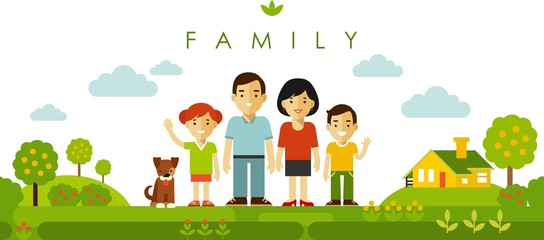 Set of four family members posing together in flat style