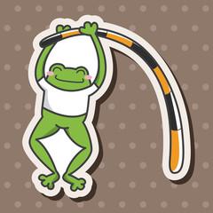 Animal frog doing sports cartoon theme elements