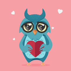owl in love with heart