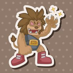 Animal lion doing sports cartoon theme elements