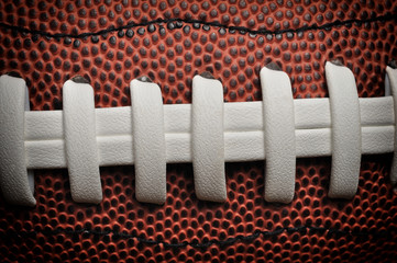 American football close up with laces and texture