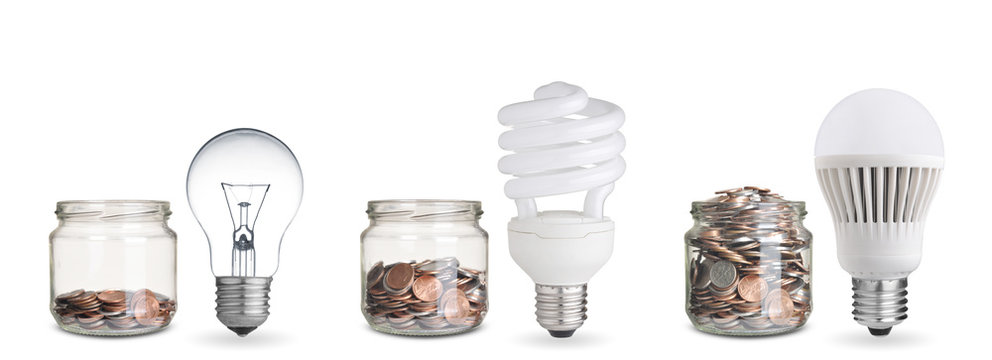 money spent with different light bulbs.Isolated on white