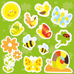 spring / summer nature stickers set