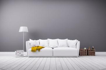 Modernes Wohnzimmer in minimal Stil mit Sofa