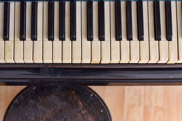 Old piano, abstract music background