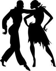 Couple dancing ballroom samba silhouette