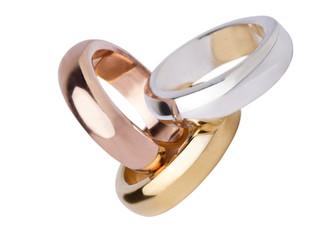 Trisi di anelli inoro argento e bronzo