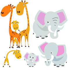 Cute Giraffes and Elephants
