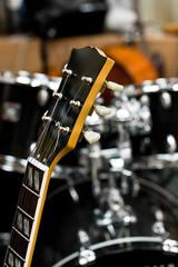 The guitar fretboard closeup