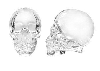 Glass skull on a white background