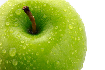 closeup isolated juicy green apple