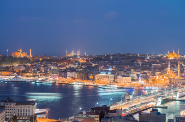 Wall Murals Kiev Night panoramic view of Istanbul