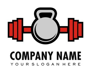 Fitness barbell logo image vector