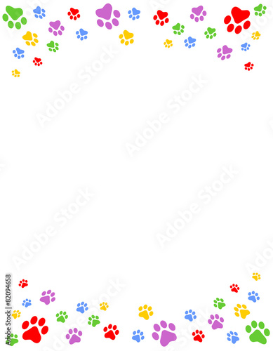 Colorful Dog Paw Print Frame Stock Image And Royalty Free Vector