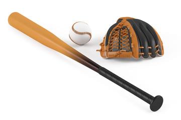 Baseball bat and leather glove isolated