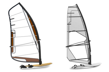 Windsurfing isolated. Boats