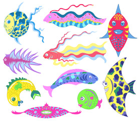 Design set with fantastic fish isolated