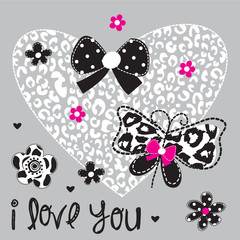 beautiful butterfly with heart love card vector illustration