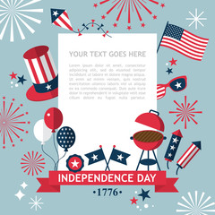 4th of July, Independence Day of the USA, party invitation templ