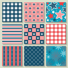 4th of July, Independence Day of the USA, seamless pattern set f