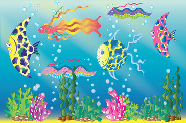 Underwater scene with colorful bubbles and seaweed
