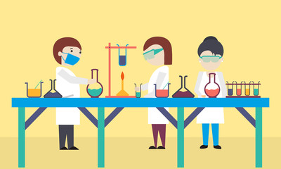 Cartoon of scientists working in laboratory.
