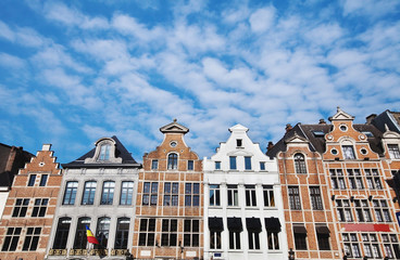 houses in Brussels, street with traditional architecture in Belgium