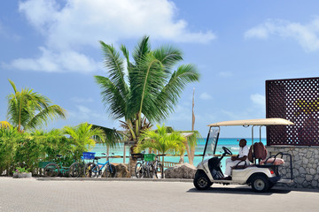 Buggy car waiting clients. La Digue, Seychelles - September 1, 2