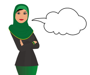 Muslim girl with message bubble