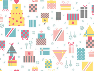 Seamless pattern with gifts in pastel colors